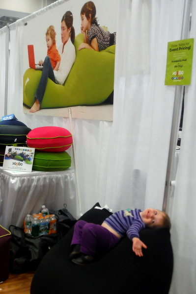 Child in Yogibo bean bag at DC Green Festival 6-5-15