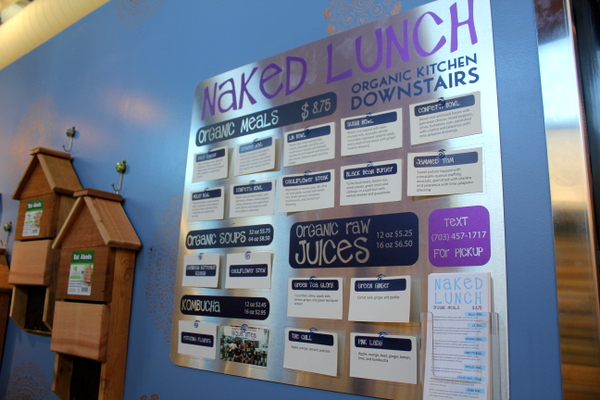 Moms Organic Market Arlington opening by Mindful Healthy Life - Naked Lunch menu upstairs