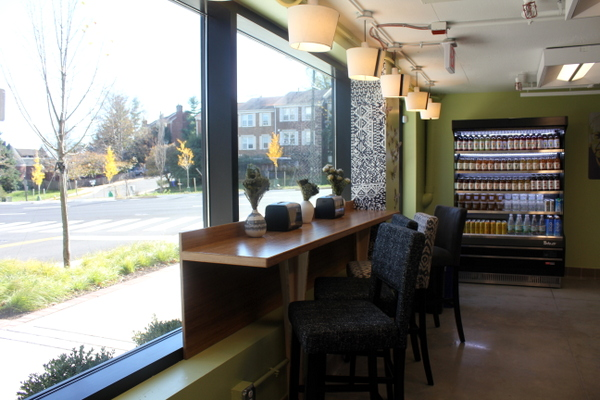 Moms Organic Market Arlington opening by Mindful Healthy Life - seating in Naked Lunch