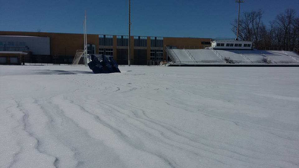 snow on football field2