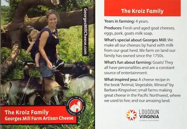 Loudoun County farmer trading card - Kroiz Family Georges Mill Farm
