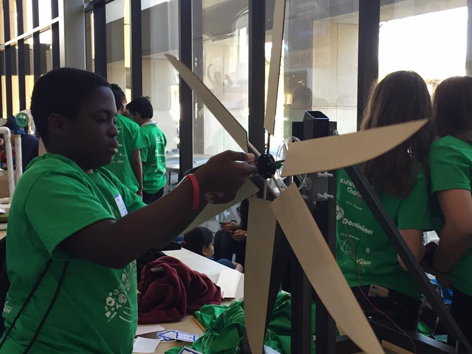 student working on KidWind challenge SEAS 2016