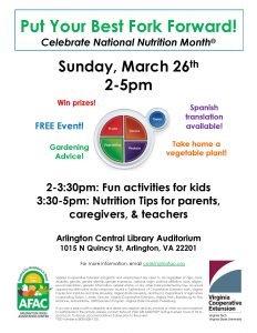 NATIONAL NUTRITION MONTH: PUT YOUR BEST FORK FORWARD @ Arlington Central Library | Arlington | Virginia | United States