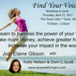 "Radical Rejuvenation ""Find Your Voice"" workshop April 27"