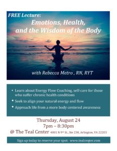 FREE Lecture Thursday Emotions, Health and the Wisdom of the Body - with Rebecca Metro, RN, RYT @ The Teal Center  | Arlington | Virginia | United States