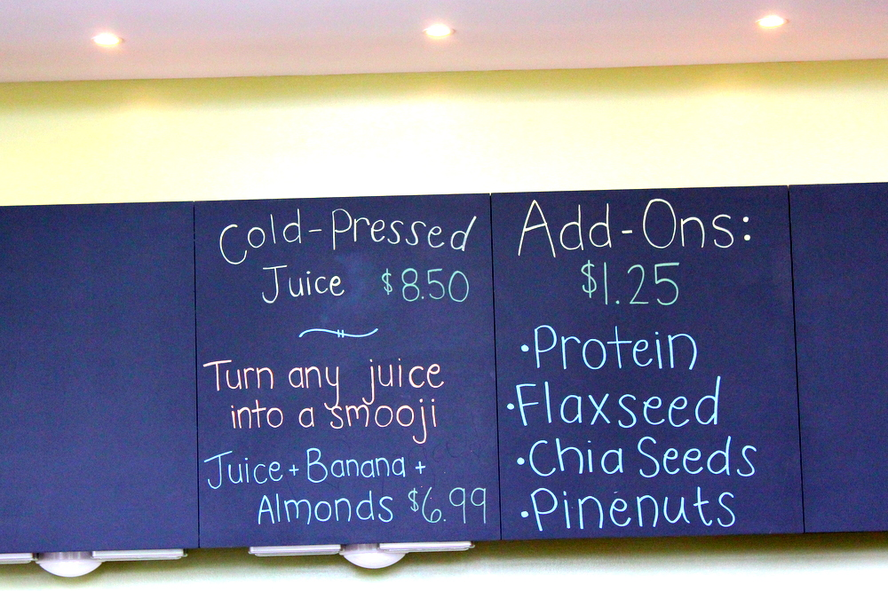 Ease Yoga Cafe by Mindful Healthy Life - cafe board