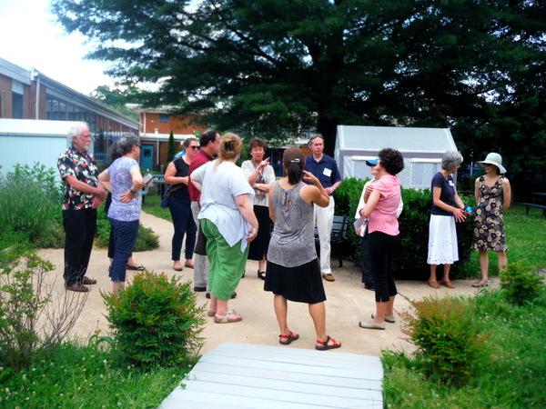 APS Growing Green Schools Garden Meetup Jamestown Elementary 6-8-15 greenhouse and tree