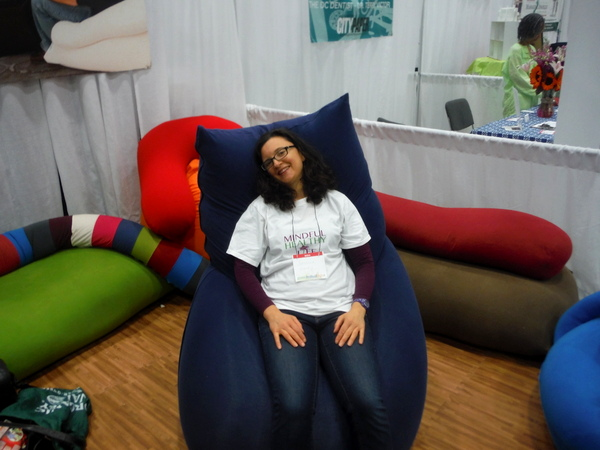 Mindful Healthy Life in Yogibo bean bag at DC Green Festival 6-5-15