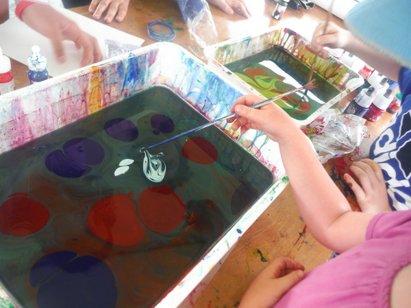 World Children's Festival 2015 - marbling - water and paint  - by Mindful Healthy Life
