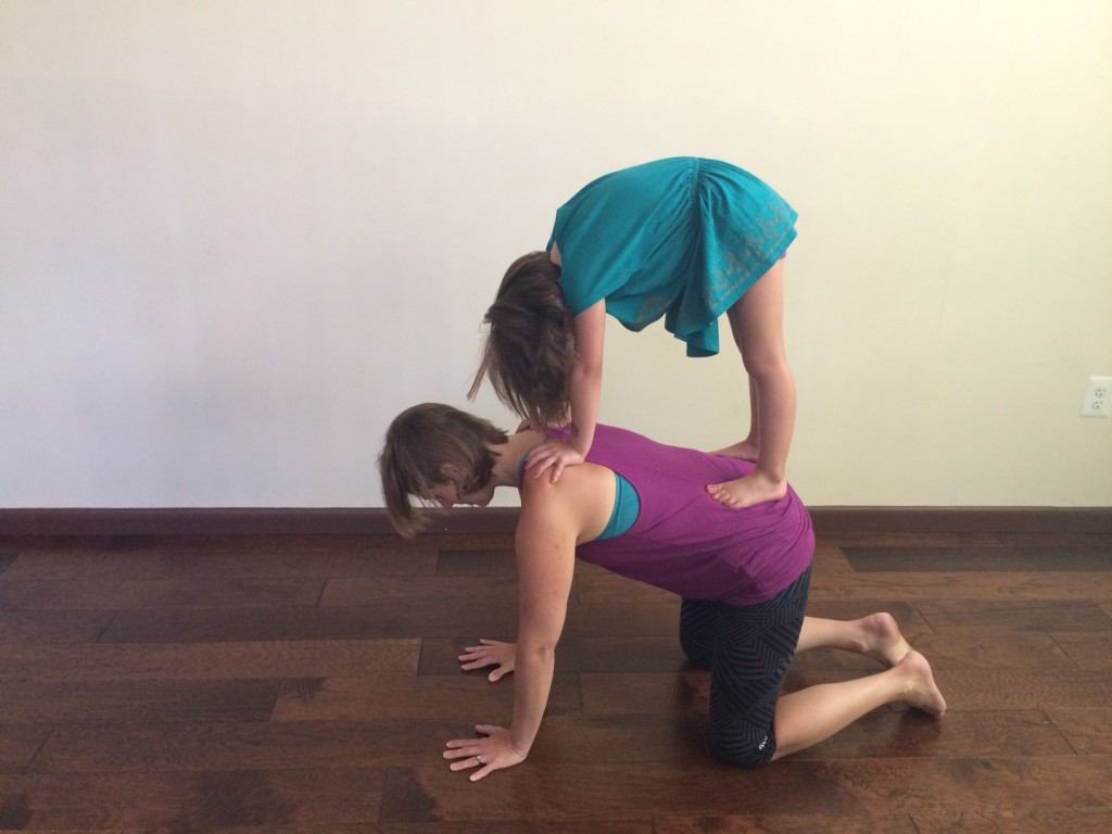 Cathy Burke and daughter family yoga
