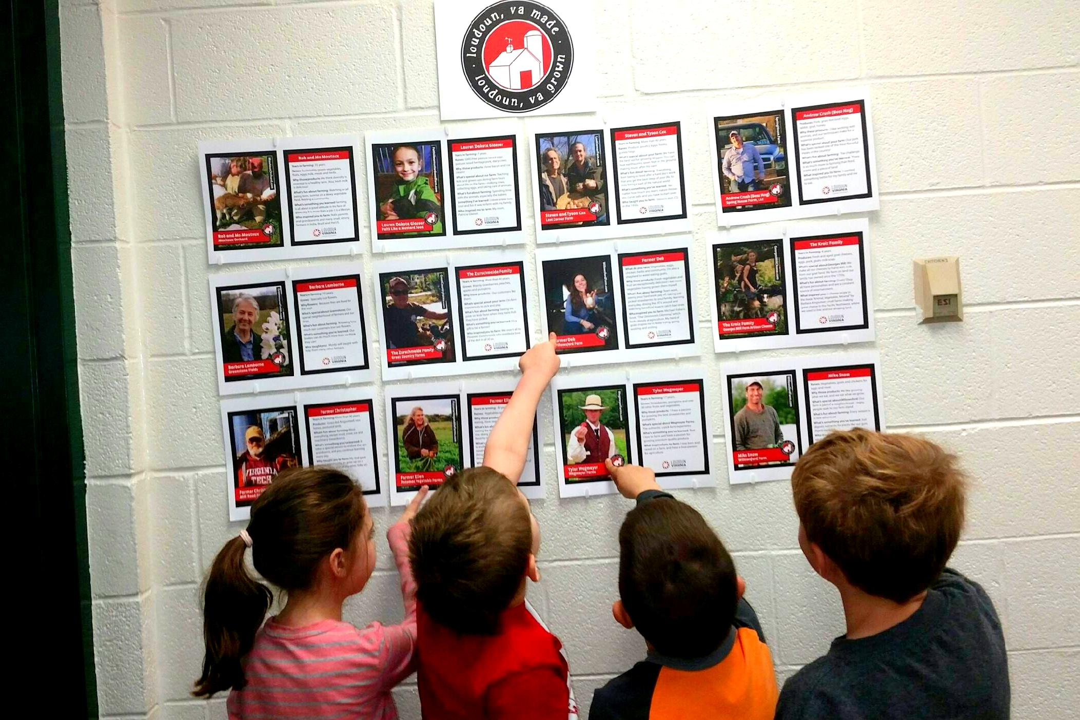 children observing Loudoun County farmer trading cards