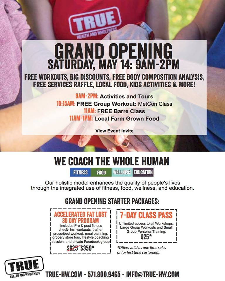 TRUE Grand Opening flyer and specials