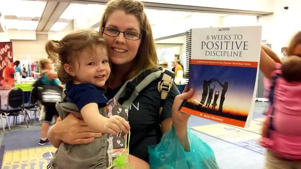 Mindful Healthy Life table at MommyCon winner Rene Hackney Positive Discipline workbook