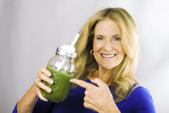 Elaine Gibson with green smoothie